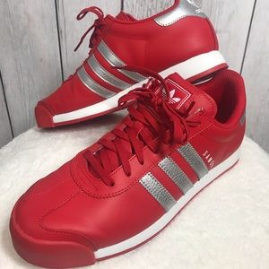 Adidas Size 10 Samoa Silver Red & White Shoes
